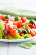 Vegetable Salad with Feta Cheese and Green Olives