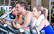 Group of people training in a fitness club