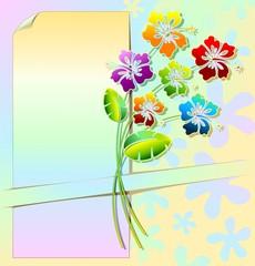 Auguri Sfondo Fiori e Colori-Hibiscus Design Label Card