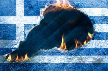Brennende Griechenland-Flagge