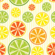seamless background with lemon, lime, orange and grapefruit