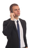 Portrait of a business man with phone isolated on white
