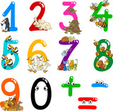 Fototapety numbers with cartoon animals