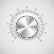 Chrome volume knob (button) with light background
