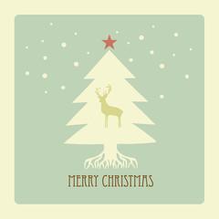 Vintage Christmas Card. Beautiful Christmas tree with deer