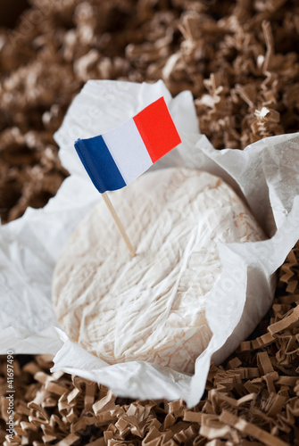 Soft french cheese and flag