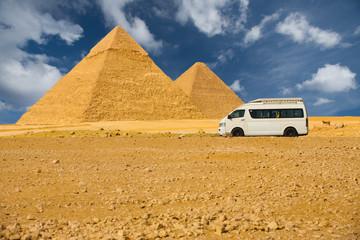 Tourist Van Front Giza Pyramids