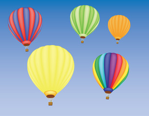 five hot air ballons in a sky vector illustration