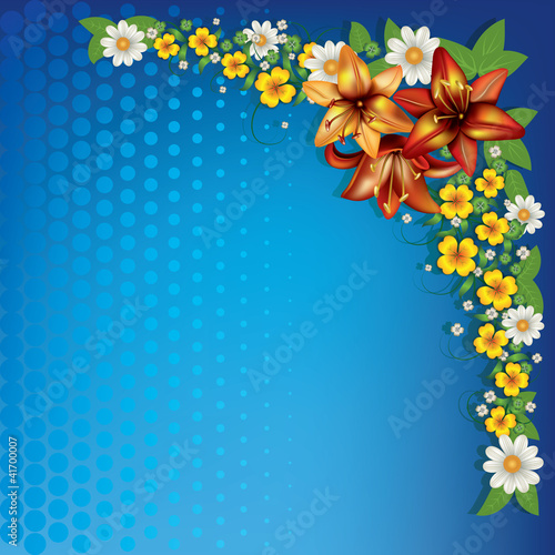 abstract floral background with spring flowers