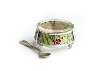 silver saltcellar antiques with spoon