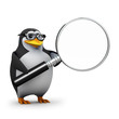 3d Penguin in glasses holds a magnifying glass