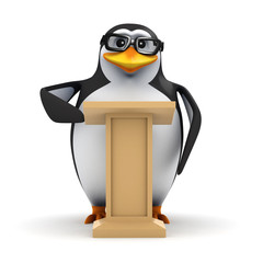 3d Penguin in glasses behind lectern
