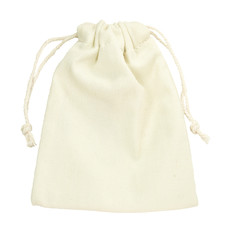 isolated purse string cotton bag on white background