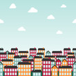 Seamless background pattern with town. Vector illustration.