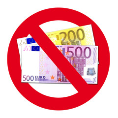 Schild: Keine Annahme von 200 und 500 Euro Scheinen