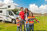 Family vacation trip in camping. Travel on camper (RV) poster