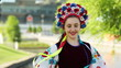Portrait of Ukrainian girls in traditional dress. Euro-2012.