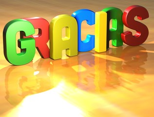 Word Gracias on yellow background