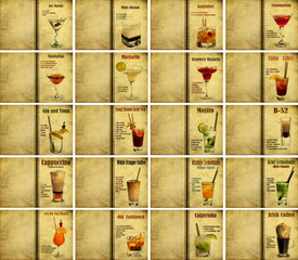 Set of cocktail recipes