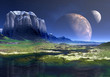 Alien Planet with Two Moons