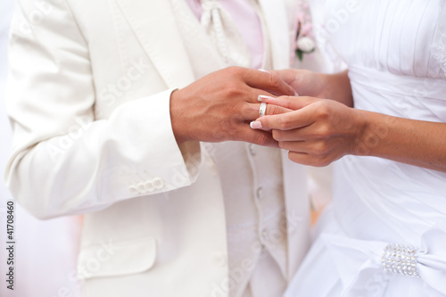 Wedding rings on the hands