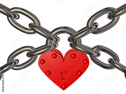 Heart - lock and chain