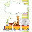baby shower - train - trenino con animali