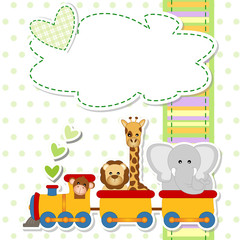 baby shower - train - trenino con animali