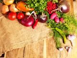 Vegetable on wooden boards.