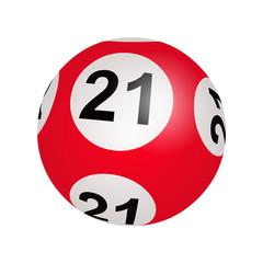Tirage loto, boule numéro 21