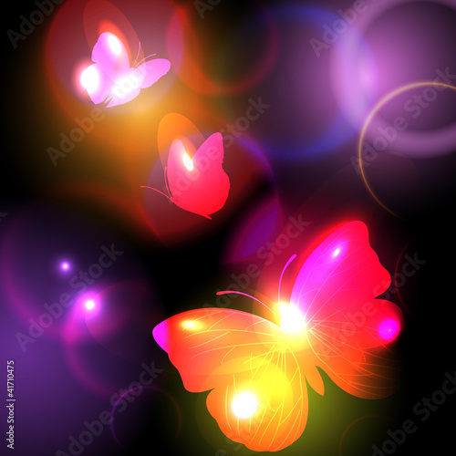 Bright Background With Butterflies