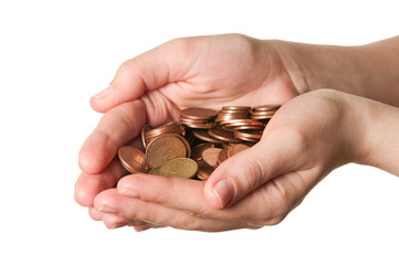 Euro coins in hands over a white background
