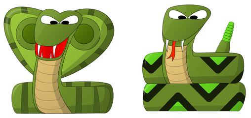 Snakes (Cobra and Rattler)