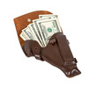 Money in the brown leather holster