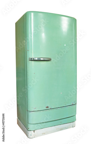 Vintage refrigerator isolated on white background