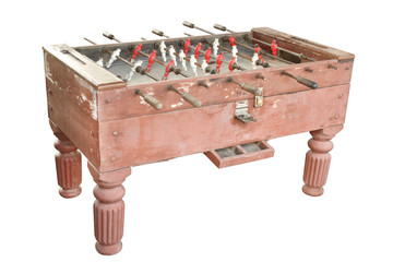 Vintage soccer table isolated on white background