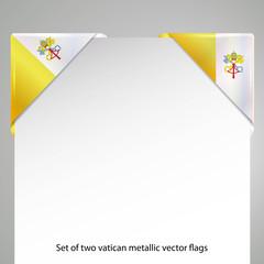 vatican state metallic looking flag corner, set