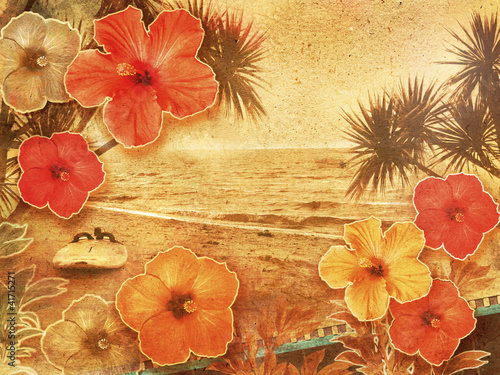 Papiers peints Retro vintage tropical beach