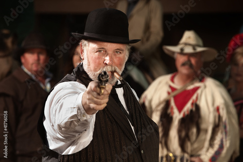 Old Western Smoking Man with Gun