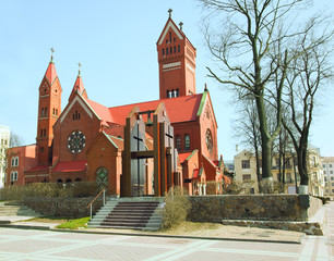 Catholic church of Saints Simon and Helena. Red Church in Minsk,
