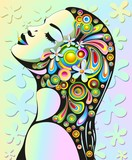 Ragazza Sensuale Pop Art-Psychedelic Girl's Floral Portrait