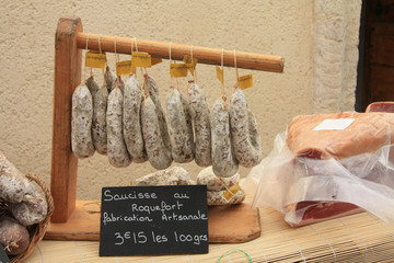 Sausages on a market in the Provence