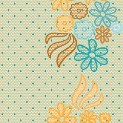 Gentle lace vector fabric seamless pattern
