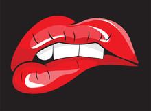 Mordait les lèvres rouges dents