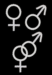 Female and male symbols isolated on black