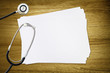 doctors stethoscope blank paper