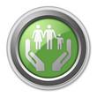 "Green 3D Style Button ""Social Services"""