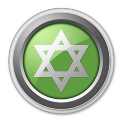"Green 3D Style Button ""Star Of David"""