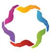 Teamwork hands logo vector