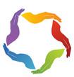 Hands solidarity teamwork logo